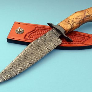 Shawn McIntyre Forged Tiger Stripe Damascus Bowie ABS Master Smith Custom Knife