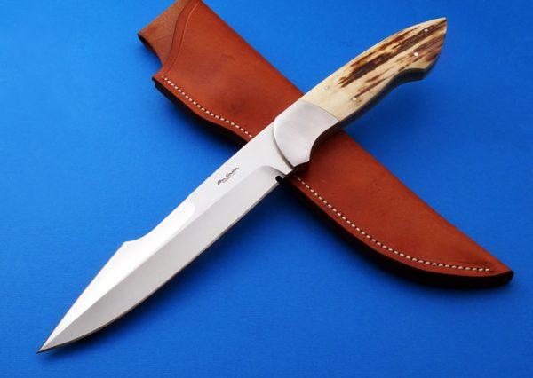 Ron Gaston F17 Presentation Fixed Custom Knife Mammoth Ivory Harpoon grind