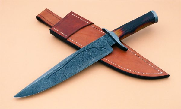 Greg Keith Damascus Forged Bowie Stag