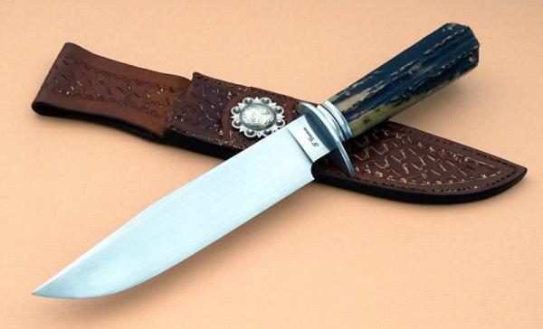 Tommy Gann Cowboy Fighter Stag Art Deco Decorative sheath Custom Knife
