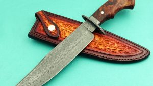 Larry Cox forged damascus bowie ABS Journeyman Smith West Texas Wind