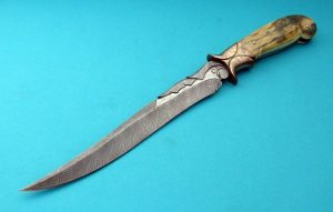 David Broadwell Carved Damascus Fighting Knife Bronze Fossil Walrus Ivory One-Of-A-Kind