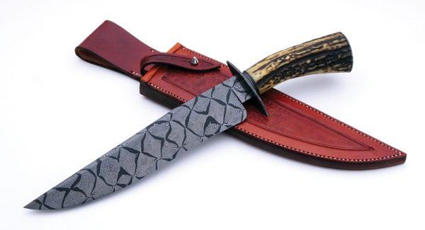 Josh Fisher Forged Damascus Mosaic Bowie Custom Knife ABS Journeyman Smith