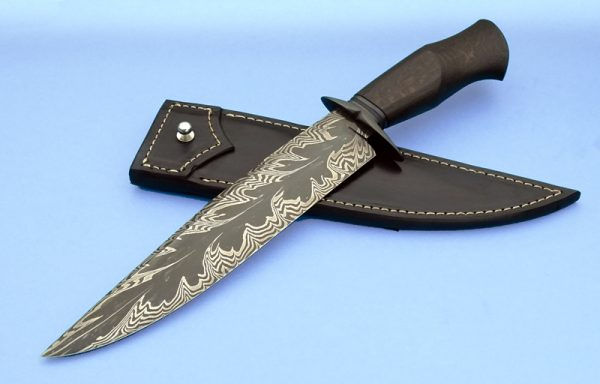 Deibert Oak Explosion Feather Damascus Bowie Blued Fixed Blade Custom Forged