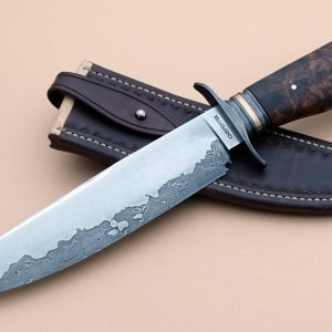 Charles Carpenter Forged Damascus San Mai Bowie Custom Knife ABS Journeyman Smith Bronze spacer