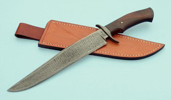 Greg Keith Forged Damascus Custom Bowie Desert Ironwood Knife ABS Journeyman Smith Ladder Pattern
