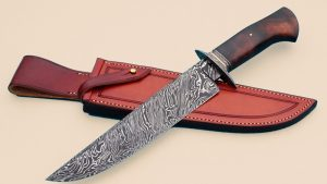 Josh Fisher Forged Twist Pattern Damascus Camp Knife Bowie ABS Master Smith