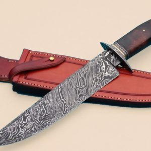 Josh Fisher Forged Twist Pattern Damascus Camp Knife Bowie ABS Journeyman Smith