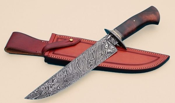 Josh Fisher Forged Twist Pattern Damascus Camp Knife Bowie ABS Journeyman Smith