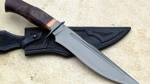 Michal Komorovsky DLC Redwood Burl Bronze Forged Custom Hand Made Fighting Knife Ostrich Sheath Slovakia Value