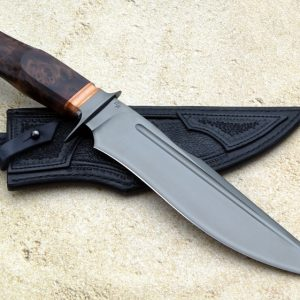 Michal Komorovsky DLC Redwood Burl Bronze Forged Custom Hand Made Fighting Knife Ostrich Sheath Slovakia Value
