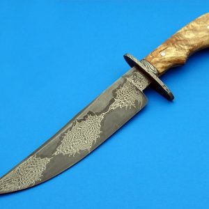 Larry Cox Forged Mosaic Damascus Fighting Knife ABS Journeyman Smith Custom Fighter