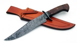 Josh Fisher ABS Journeyman Smith Forged Custom Damascus Twist Pattern Camp Knife Frame Handle