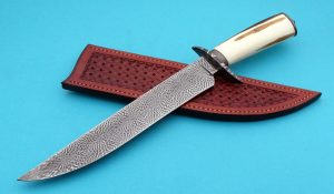 Steve Randall Forged Mosaic Damascus Bowie ABS Master Smith custom knife Rare Fossil Walrus Ivory