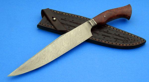 Nick Wheeler Forged Damascus Integral Gardless Bowie Custom Knife ABS Journeyman Smith Twist Pattern