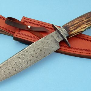 Wess Barnhill Turkish Twist Damascus Bowie JForged Custom Knife Mammoth Ivory ABS Journeyman Smith George Peck Award