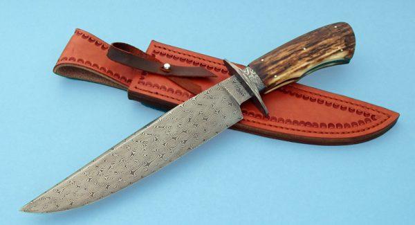 Wess Barnhill Turkish Twist Damascus Bowie JForged Custom Knife Mammoth Ivory ABS Journeyman Smith George Peck Award