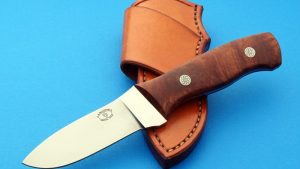 Loyd McConnel Drop Point Hunter Custom Knife Desert Ironwood engraved handle pins Great value full tapered tang