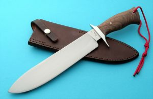 Lin Rhea Forged Competition Cutter Walnut Custom Bowie #2 ABS Journeyman Smith World Cutting Championship Blade Show