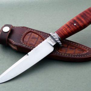Stephen Fowler Forged Vest Bowie Custom Presentation Fixed Knife Curly Maple ABS Journeyman Smith Alligator sheath