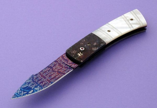 Barry Gallagher Damascus Meteorite Automatic Presentation Folder Mother of Pearl