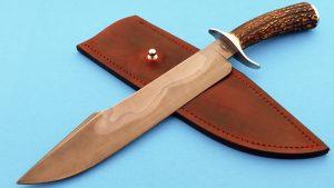 Landon Robbins Custom Harpoon Stag Camp Knife